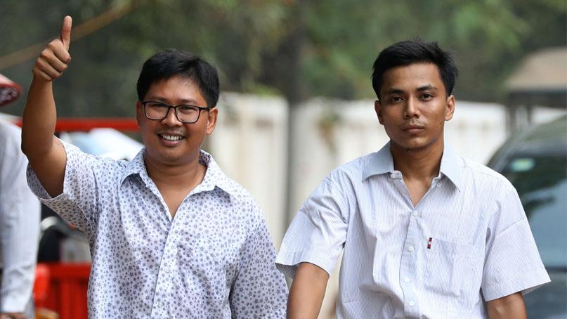 '로힝야 학살' 취재기자들, 미얀마 정부 사면으로 511일만에 석방