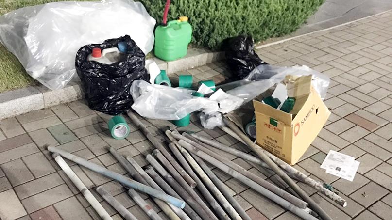 현대重 노조 차에서 둔기·인화 물질 발견…노조 '텐트 설치용'