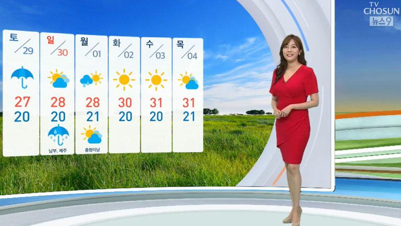 [날씨] 금요일 한낮 30도 무더위…일부 지역 소나기