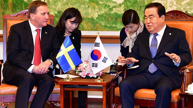 文의장, 스웨덴 총리 접견…'어려웠을 때 친구가 가장 중요'