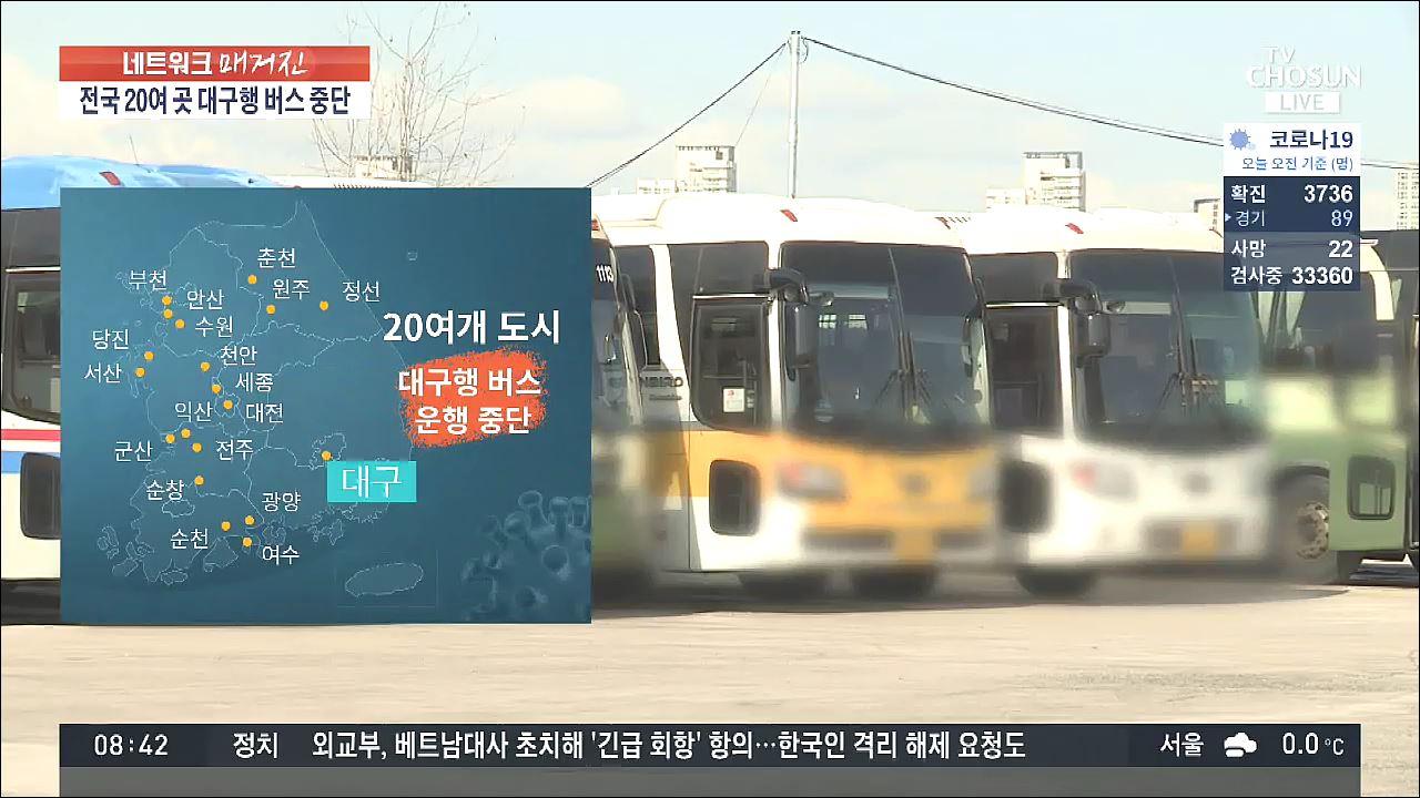 대구행 시외버스 운행 중단 속출…'코로나19 여파로 탑승객 급감'