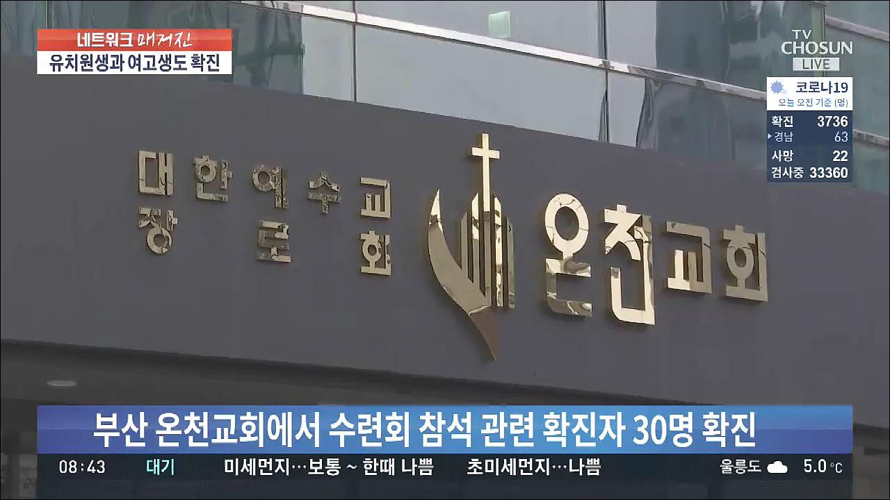 부산·울산·경남도 확진자 속출…부산 온천교회서만 30명