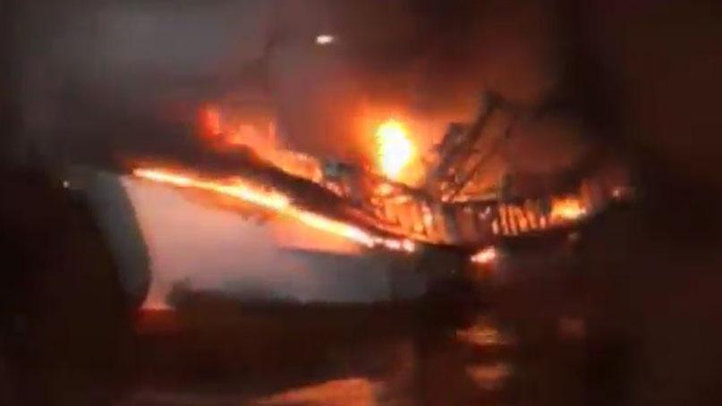 제주 우도 해상서 어선 화재·침몰…선원 8명 중 6명 실종