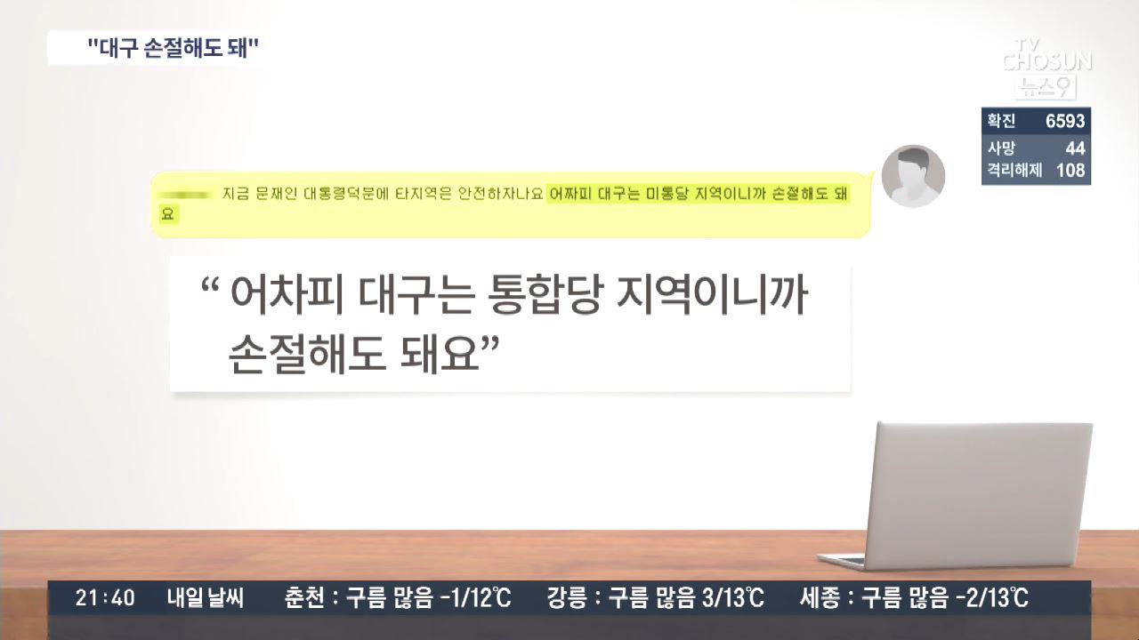 '대구는 통합당 지역이니 '손절'해도'…與 청년위원 '코로나 막말' 논란