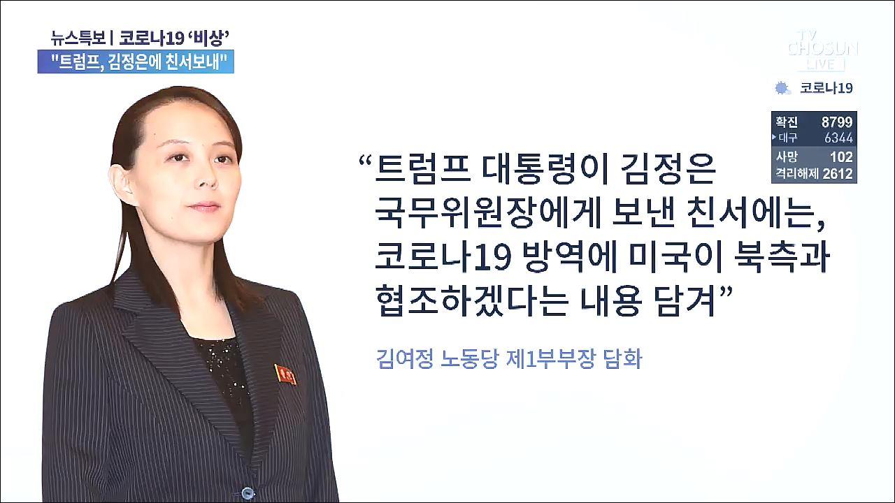 北 김여정 '트럼프, 김정은에 친서…코로나 방역 협조 의향'