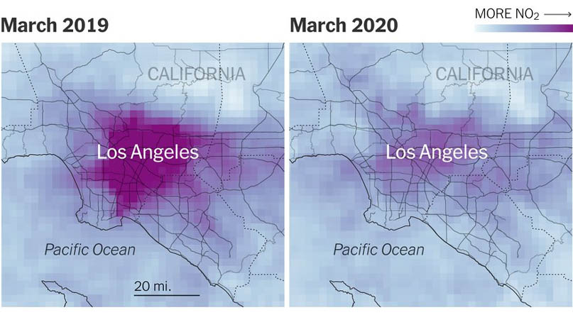 전세계 인구 '5분의 1' 발 묶이자 공기가 깨끗해졌다
