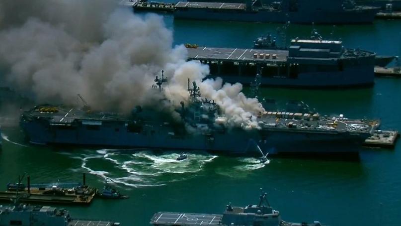 정박중인 美군함서 원인모를 폭발로 선원 등 20여명 부상