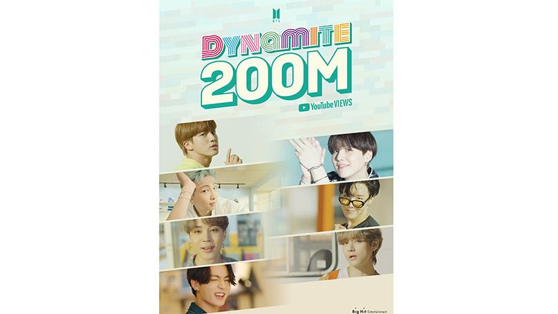 BTS '다이너마이트' 뮤비, 세계 최단시간 2억뷰도 달성