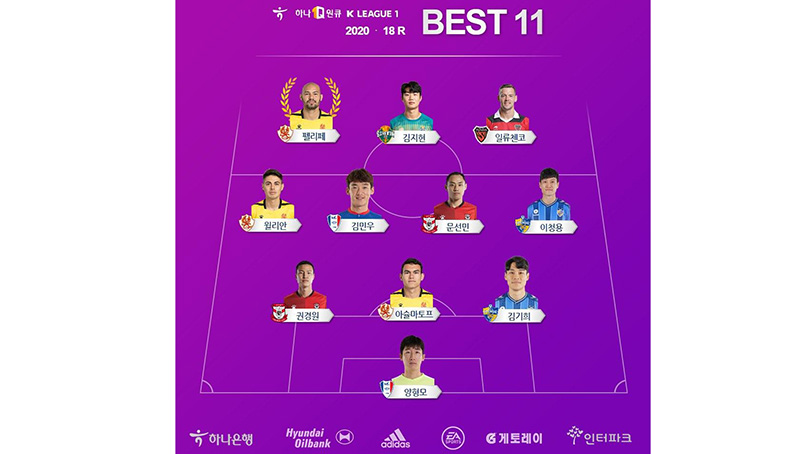 '멀티골' 광주 펠리페, K리그1 18라운드 MVP