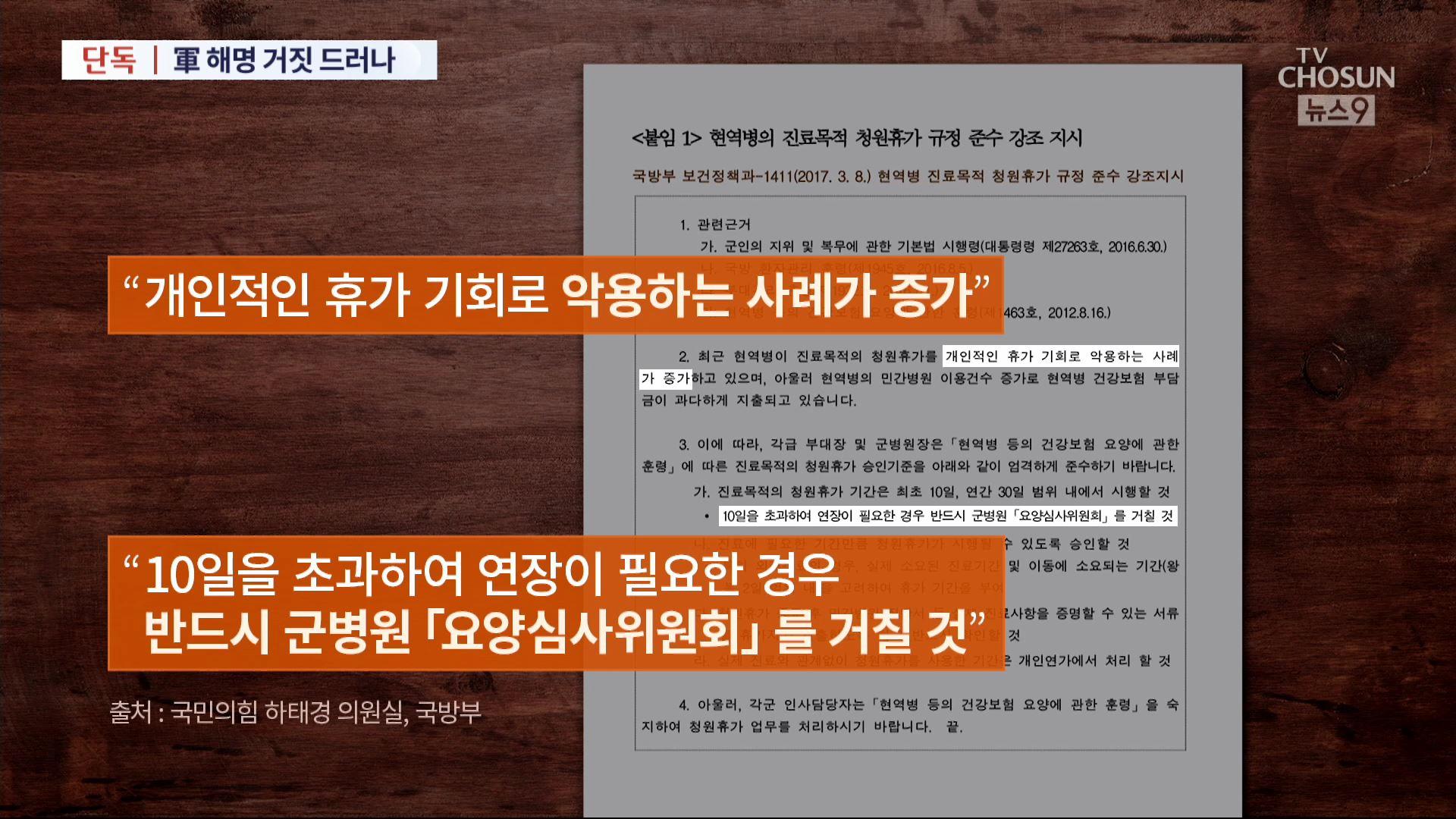 [단독] 秋아들 병가 석달전, 국방부 '10일 넘을때 심의 받아라' 지침