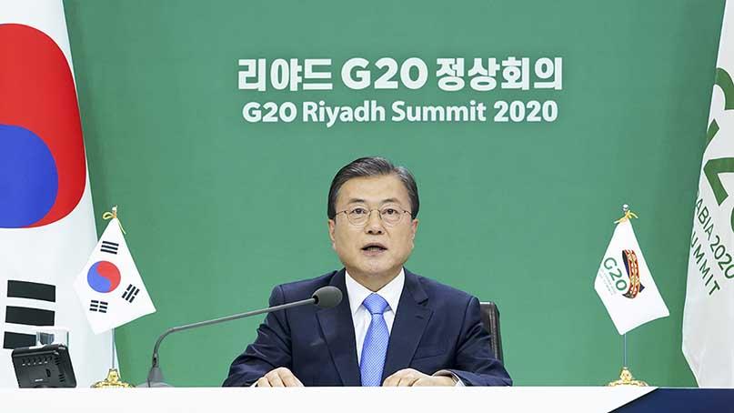文, G20 정상회의서 '백신·치료제 공평한 보급'…'신속통로제도 확대해야' 강조