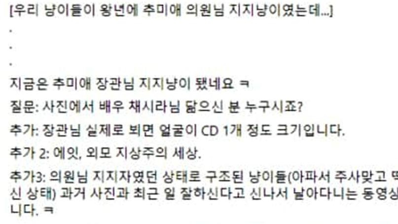 전국 검사 반발 잇따르는데 진혜원 '추미애, 채시라 닮아' 외모 찬양