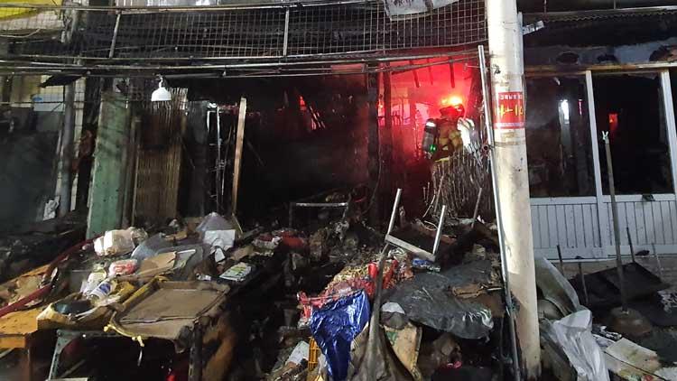 청주 육거리종합시장서 화재…점포 3곳 소실