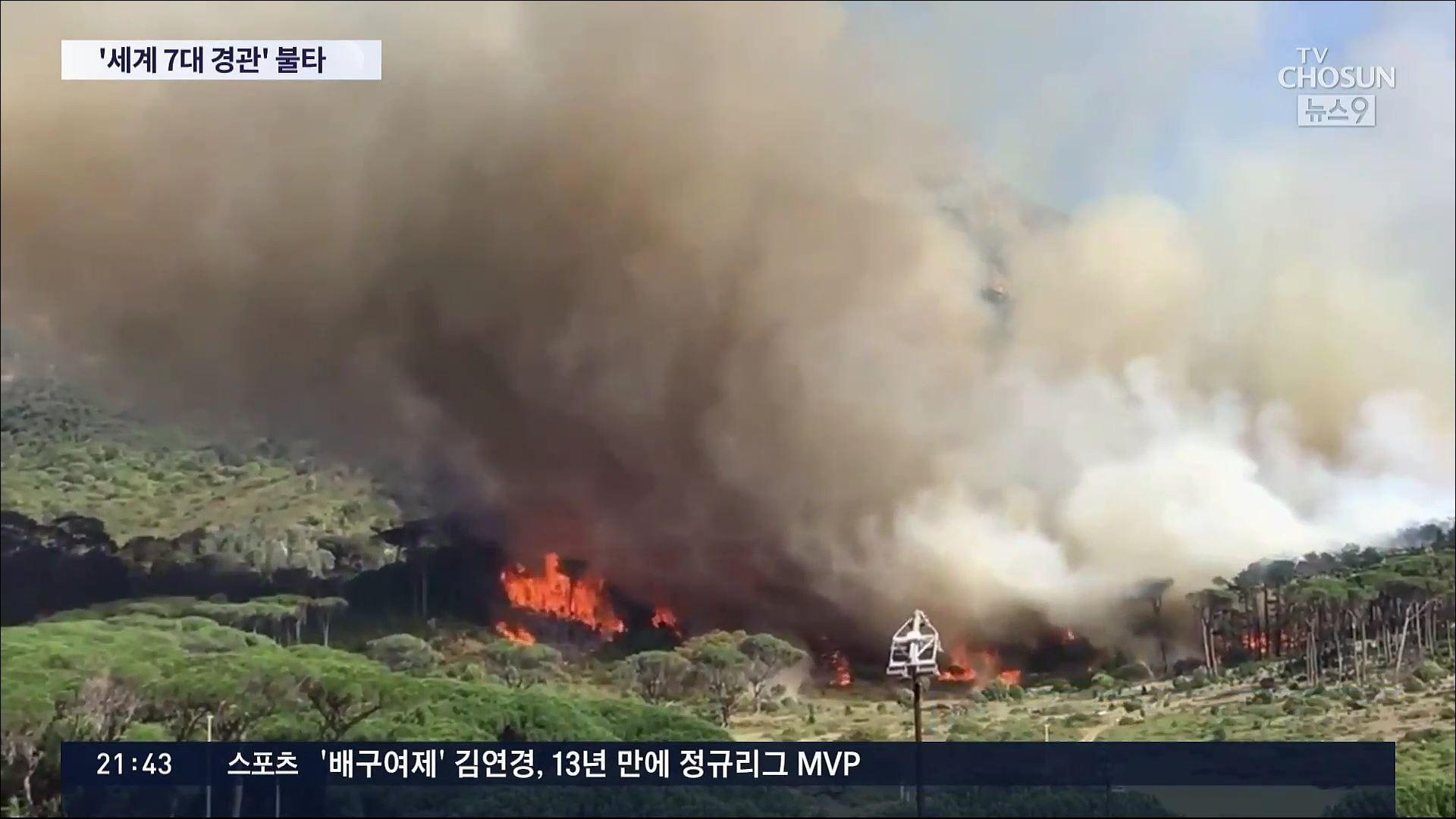 '세계 7대 경관' 남아공 테이블마운틴 산불…'아직도 통제 불능'